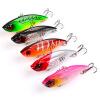 1PC VIB Fishing Lures 6.5cm-2.56 /11g-0.39oz Hard Bass Bait 5 Цветная рыболовная снасть 6 # High Carbon Hook