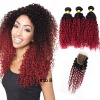 Wine Red # 1B 99J Kinky Curly Hair Bundles с кружевным закрытием Средняя часть Burgundy Ombre Kinky Curly Hair With Closure 4шт. Лот new arrival kinky curly hair with closure synthetic lace front wig 1b color black for sexy women