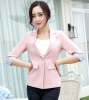 S To 4XL Candy Color Women's Blazer Half Sleeve With Turnback Cuff Patchwork Female Suit Jackets Button Pockets Blazers Womens