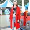 Длинное пальто Fairwhale 2017 осень новый женский пиджак печати женский красный L