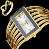 2017 Fashion Women Dress Watch Роскошный бренд из нержавеющей стали Наручные часы с 18-каратным золотым кольцом Дамы Eelgant Clock