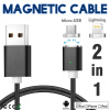 Keymao Magnetic Phone Kabel Data Lightning Charger  Cable 2-in-1 Micro USB for iPhone 7 7 plus 6 6s Plus iPad Samsung S6 S7 S8 p keymao magnetic cable fast charging usb cable for iphone ipad 1m nylon magnet charger kabel data