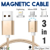 Keymao Magnetic Phone Kabel Data Type-C Charger  Cable 3-in-1 Micro USB for iPhone 7 7 plus 6 6s Plus iPad Samsung S6 S7 S8 plus ipad 4 in 1 photo lens