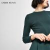 элегантный талии листьев лотоса качели платье темно-зеленое платье Ur женщин WG47R7EN2000 S