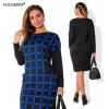 Модные женщины офиса платья большие размеры 2017 плюс размер одежды женщин 5xl 6XL зимнее платье случайный o-neck Work bodycon