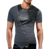 Male 2017 Brand Short Sleeve Straight Zipper T Shirt O-Neck Slim Men T-Shirt Tops Fashion Mens Tee Shirt T Shirts 2XL