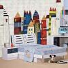 Papel De Parede Infantil 3D Cartoon City Buildings Mural Обои Детская спальня 3D-комната Пейзаж Нетканые обои для стенной живописи стикеры для стен 2015 papel de parede infantil shb127