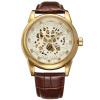 2017 WINNER Автоматические мужские золотые часы Роскошные золотые скелеты Мужские часы Механические наручные часы золотые часы