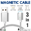 Keymao Magnetic Phone Kabel Data Type-C Micro USB Lighting Charger  Cable 3-in-1  for iPhone  iPad Samsung micro usb port magnetic adapter charger for android micro usb charging flex cable for smart phone