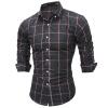 Brand 2017 Fashion Male New Shirt Long-Sleeves Tops Classic Plaid Mens Dress Shirts Slim Men Shirt 2XL
