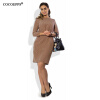 COCOEPPS полька-точка женщин плюс размер платья 2017 случайные осенние 5XL 6XL платья женщин свободное платье Офисное мини-платье i love pop бикини