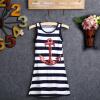 мода детей девочек блестки якорь военно - морского флота полосы платье макси sundress 3-8y