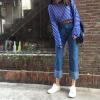2017 новый ретро керлинг джинсовые прямые брюки высокой талии широкий свободные ноги досуг брюки dismero джинсовые брюки
