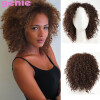 Pixie Cut Afro Kinky Curly Short Synthetic Wigs With Bangs для черных женщин Естественно, коричневый цвет Афро-американских волос 65cm synthetic wigs hrajuku lolita long curly clip on ponytails cosplay flat bangs anime full hair wig pink
