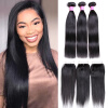 Wholesale Natural Black Virgin Hair Straight With Closure 3 Bundles Human Hair Weave Straight With 4*4 Lace closure han edition of the new bankcard yarn rope ribbon hair with hair hoop hair tire wholesale