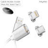Keymao Magnetic Phone Kabel Data Lightning Charger Cable 2-in-1 Micro USB for Iphone Android 3 in 1 lightning type c micro usb magnetic head data charger cable