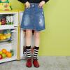Semir (Semir) юбка женская 2017 новая обвала джинсовой А-линия юбка была тонкой нерегулярной юбка колледж Ветер