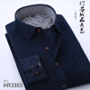 Business Corduroy Middle Aged Men Long Sleeve Shirt Spring Autumn Loose Solid Color
