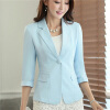 Womens Casual Work Office Blazer Jacket 3/4 Sleeve Notched Collar Single Button Pockets Design Spring Fall Slim Lady Outwear