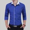 Brand 2017 Fashion Male Shirt Long-Sleeves Tops Simple Solid Color Fashion Generous Mens Dress Shirts Slim Men Shirt 3XL stylish dress book simple smocks dresses and tops