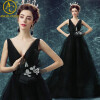 Sexy Evening Dresses Long Vintage Black Elegant Sleeveless Lace Satin Party Gown Prom Dress Women Backless Robe Evening Gowns muababy summer girls princess dresses children kids sequined sleeveless layered dress party ball gown girl tulle wedding clothes