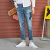 Semir (Semir) Осень 2017 мужских джинсов мужских брюки отверстия Тонких личностей прилив бренд ретро матовых джинсовые синие брюки 11,316,241,004 33