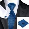 Н-0652 моде мужчины Шелковый галстук набор галстук платок Запонки Синяя полоса набор галстуков для мужчин формальных Свадебный бизнес оптом н 0343 моде мужчины шелковый галстук набор галстук платок запонки синяя полоса набор галстуков для мужчин формальных свадебный бизнес оптом