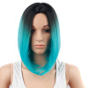 Dalin HAIR Ombre Blue Wig Synthetic Hair Short Wigs for Black Women Bob Straight Hair summer bob wig for black women brazilian