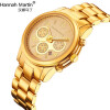 Мужские роскошные золотые часы Ханна Мартин Мужские наручные часы из нержавеющей стали Кварцевые часы Элегантные часы календаря