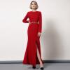 DF · RS Осень и зима новый с длинными рукавами Тонкий платье красный круглый шея темперамент платье fishtail юбка женский платье с рукавами printio новый год