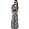 Летние модные женщины 2XL Плюс Размер Sashes Печать Длинные платья Элегантный Vintage V-образным вырезом до пола Maxi Платья Одежд платья