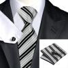 Н-0670 моде мужчины Шелковый галстук набор галстук платок Запонки серая в полоску набор галстуков для мужчин формальных Свадебный бизнес оптом н 0653 моде мужчины шелковый галстук набор фиолетовый в полоску галстук платок запонки набор галстуков для мужчин формальных свадебный бизнес оптом