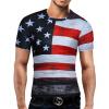 Male 2017 Brand Short Sleeve American Flag 3D Digital Print T Shirt O-Neck Slim Men T-Shirt Tops Fashion Mens Tee Shirt T Shirts letter print slim leisure mens short sleeve t shirt
