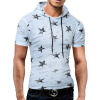 Male 2017 Brand Short Sleeve Hoodie Star Print Hole Hooded T-Shirt Slim Men T-Shirt Tops Fashion Mens Tee Shirt T Shirts sokotoo men s colored painted snake 3d print jeans fashion black slim stretch denim pants
