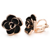 Yoursfs 18K Gold Plated Black Rose Flower Stud Earrings 15mm dainty Rose Post Stud Earrings For woman yoursfs dangle earrings with long chain austria crystal jewelry gift 18k rose gold plated
