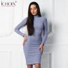 2017 Осень Зима Синий вязаный Vintage Платье Водолазка Элегантное платье для офиса с длинным рукавом длиной до колен