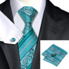Н-0455 моде мужчины Шелковый галстук набор зеленый Пейсли галстук платок Запонки набор галстуков для мужчин формальных Свадебный бизнес оптом