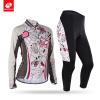NUCKILY Женский цветок сублимации велосипед длинный костюм Полная длина Zip Велоспорт Джерси и мягкий весна для весны / осени CJ12