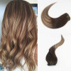 7Pcs 120G Color #3#24#3 Brazilian Remy Hair Full Set Clip On Hair Extensions 100% Human Ombre Balayage Hair Extensions free shipping remy clip in hair extensions brazilian virgin straight hair color 1b huaman hair clip on full head 8pcs set