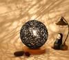 BOKT Минималистский массивный деревянный стол Настольная лампа для прикроватной тумбочки Красочный домашний декор из ротанга Ball Round Lampshade (черный)