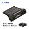 YChamp Smart Car TPMS Система контроля давления в шинах Зарядка от солнечной энергии Цифровой ЖК-дисплей Автосистемы безопасности древняя ткань bugoo встроенный беспроводной контроля давления в шинах m1 длительного ожидания