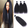 High Quailty Brazilian Remy Hair 3Pcs/Lot 12-24 Kinky Straight 100% Human Hair Bundles Human Hair Weaves Free Shipping 1g s 100g human remy hair 8 light brown straight custom capsule keratin stick i tip fusion full human hair extensions