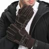 Yu Zhaolin (YUZHAOLIN) кожаные перчатки мужчины зима теплая поездка плюс бархатная поездка зимний ветер сенсорный экран мужская кожа шитье толстая коричневая белая линия теплая пижама yu zhaolin