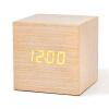 Alarm Clock Student Sound Control LED USB Solid Wood Desk Clocks Digital Tempreture Display Light LED Alarm Clock Orange Clock