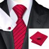 Н-0357 моде мужчины Шелковый галстук набор галстук платок Запонки Красная полоса набор галстуков для мужчин формальных Свадебный бизнес оптом икра красная оптом цена в спб