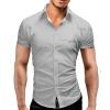 Men Shirt Luxury Brand 2017 Male Short Sleeve Hawaiian Shirts Casual Metal Buckle Hit Color Slim Fit Black Mens Dress Shirts