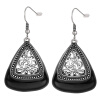Yoursfs Classic Black Enamel Dangle Chic Earrings for Women Rhinestone Hollow Flower Jewelry