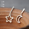 Luo Linglong s925 sterling silver moon earrings earrings anti-allergy simple temperament personality fresh retro handmade original luo linglong original s925 sterling silver earrings female song type triangle earrings earrings earrings temperament high end gift