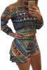 Lovaru ™летние платья печатные стиль моды горячей продажи высокого качества женщины мини-платья случайные длинный рукав слэш шеи летние платья VES всемирные летние универсиады история