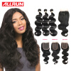 ALLRUN Brazilian Body Wave With Closure 7A Body Wave With Closure No Mix Brazillian Body Wave Hair Bundles With Lace Closures queen hair brazillian body wave full